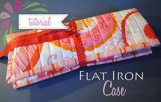 Flat or Curling Iron Travel Pouch - Free PDF Sewing Tutorial by Sherri Noel of RebeccaMae Designs.