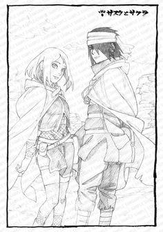 Official sketch of Sasuke and Sakura on their trip before Sarada was born in Orochimaru's Hideout. ❤️❤️❤️