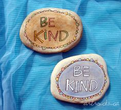 Cute rock painting idea: kindness reminder to carry in a pocket