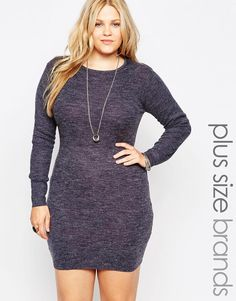 """Plus-size dress by Brave Soul Ribbed-knit fabric Round neckline Pull-on style Close cut bodycon fit Machine wash 80% Acrylic, 20% Polyamide Our model wears a UK 18/EU 46/US 14 and is 176 cm/5'9.5""""tall"""