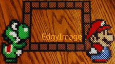 Mario and Yoshi 4X6 Perler Bead Picture Frame by EdgyImage on Etsy
