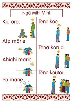 15 greeting words and phrase in Maori with clear, colourful illustrations and words. School Resources, Teaching Resources, Worksheets For Kids, Activities For Kids, Maori Songs, Greeting Words, Cross Tattoo For Men, Maori Designs, Maori Art
