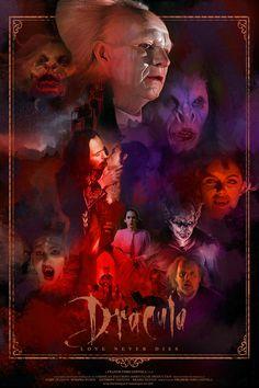 """Alternative Movie Poster inspired by Francis Ford Coppola's Film """"Bram Stoker's Dracula"""" Horror Movie Posters, Movie Poster Art, Horror Movies, Arte Horror, Horror Art, Tim Burton, Famous Vampires, Films Western, Werewolf Hunter"""