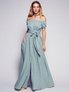 Gauzy Off the Shoulder Dress | Gauzy off-the-shoulder maxi dress featuring button closures down the front. Smocked waistband for an easy fit and adjustable belt with front slip pockets. Short sleeves with elastic cuffs and front slit. Lined.