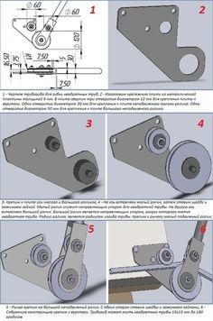Чертеж и детали механического трубогиба для профильных труб
