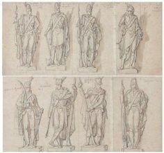 MEYNIER Charles Deux Feuilles D'études Pour Les Statues De L'arc De Triomphe