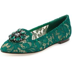 Dolce &Amp; Gabbana Crystal-Embellished Lace Loafer ($845) ❤ liked on Polyvore featuring shoes, loafers, green, shoes flats loafer, round toe flats, green shoes, venetian loafer, green loafers and dolce gabbana shoes