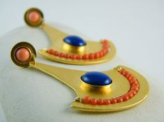 Gold lapis earrings coral gold earring big gold by AyalaVitkon, $199.00