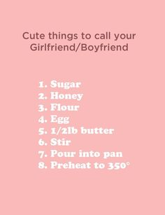 Cute things to call your significant other.