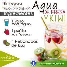 #Agua de #fresa y #kiwi #eliminargrasas #digestion #remediosnaturales #remedioscaseros #dracoco #salud