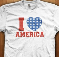 I Love America Shirt  Heart 4th Of July Independence Day 'Merica USA Adult July 4th Stars Stripes Patriotic Patriot Celebrate Tee Red Gift