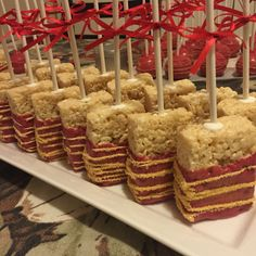 Red and Gold rice Krispy treats Red and Gold rice Krispy treats Gold Dessert Table, Candy Table, Candy Buffet, Quinceanera Cakes, Quinceanera Decorations, Rice Krispie Treats, Rice Krispies, Sweet Sixteen, Sweet 16 Birthday