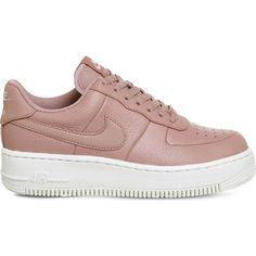 Nike Air Force 1 Upstep leather trainers ($91) ❤ liked on Polyvore featuring shoes, sneakers, leather footwear, nike shoes, leather shoes, leather sneakers and genuine leather shoes