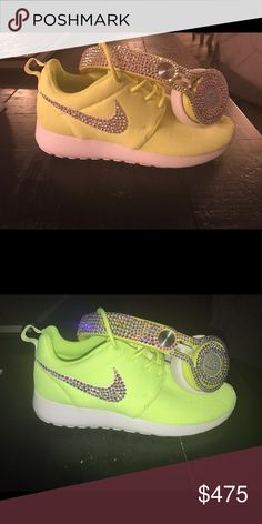 Neon Nike roshe size 7 and beats bling set Beats by dre and matching neon Nike roshe shoes beats still have case and original cords and shoes come with box. Both are blinged out with 100% authentic Swarovski ab crystals hundreds of them with hand placed with permanent adhesive Nike Shoes Sneakers
