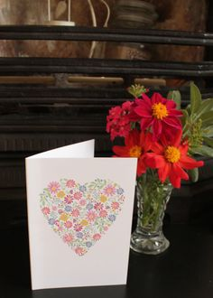 Ditsy Floral Heart Card by KitchCards on Etsy