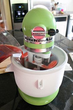 KitchenAid Ice Cream Maker Tropical Fruit Sorbet Mixing A homemade sorbet jammed with tropical flavors, made with the KitchenAid Stand Mixer Ice Cream Maker attachement Kitchen Aid Ice Cream, Kitchen Aid Mixer, Kitchen Aide, Kitchen Tools, Kitchen Gadgets, Homemade Sorbet, Homemade Ice Cream, Dairy Free Ice Cream, Vegan Ice Cream