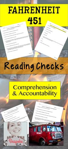 This product from Bespoke ELA contains FIVE READING CHECKS for a unit on Fahrenheit 451 to check for student comprehension and hold students accountable for reading.  These reading checks make a great addition to any F451 unit.  Great for middle school and high school English.  Bespoke ELA