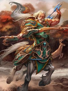Chiron: Centaur of Greek Mythology ⋆ Mythical Rea Fantasy Races, Fantasy Warrior, Fantasy Art, Humanoid Mythical Creatures, Mythological Creatures, Dnd Characters, Fantasy Characters, Character Portraits, Character Art