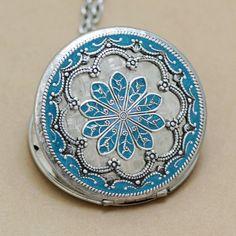 Medallón azul turquesa medallón medallón de por emmalocketshop