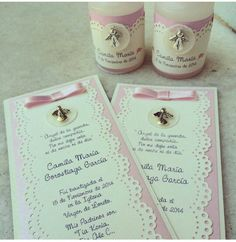 Great idea for first holy communion First Communion Cards, Holy Communion Invitations, Baptism Cards, Communion Favors, Christening Invitations, First Holy Communion, Girl Baptism Party, Ideas Bautizo, Party Favors