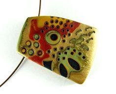 Polymer Clay Jewelry Mokume Gane Hand Stamped Jewelry Polymer Clay Pendant. $25.00, via Etsy.