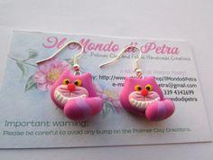 Original Handmade Chesire Cat  Earrings polymer by IlMondodiPetra, €12.00