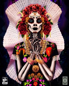 "We are on my favorite season of the year! I love so much Halloween, and as a mexican, I love ""Día de muertos"" as well. Sugar Skull Girl, Sugar Skull Makeup, Sugar Skulls, Mexican Skulls, Mexican Folk Art, Halloween Skull, Halloween Make Up, Day Of The Dead Artwork, Mexican Art Tattoos"