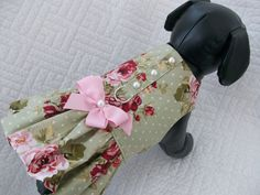 Shabby Chic Dog Dress Roses and Polka Dot Dog Dress/Harness with pearl flat buttons. $18.95, via Etsy.