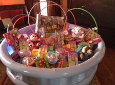 Diy giant easter basket use a hula hoop wrap it in color ribbon of one big family easter basket inside pool negle Image collections