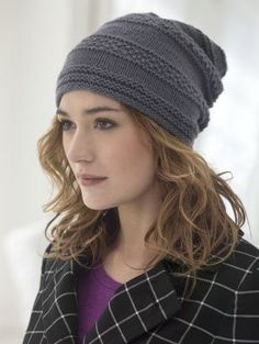 This hat looks complicated but is really easy to make. Knit it with LB Collection Cashmere for a super-soft accessory to wear this fall!