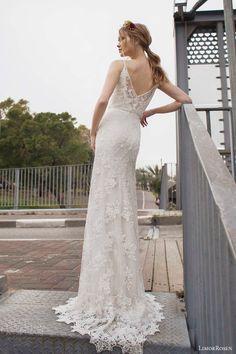 limor rosen 2015 norma sleeveless beaded sheath blouson art deco wedding dress straps back view train