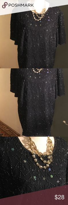 "French Collizion Navy Star Beaded Vintage Blouse 44"" bust 29"" Long 10"" sleeves Polyester  Made in India Beautiful star beading Perfect for a special night out! French Collizion Tops Blouses"