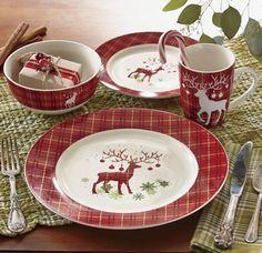 """$59.99 16-Piece Prancer Dinnerware Set -- Set includes 4 ea. dinner plates (10 1/2"""" diam.), salad plates (7 1/2"""" diam.), 16-oz. bowls (5 1/2"""" diam.) and 10-oz. mugs (4"""" h)."""