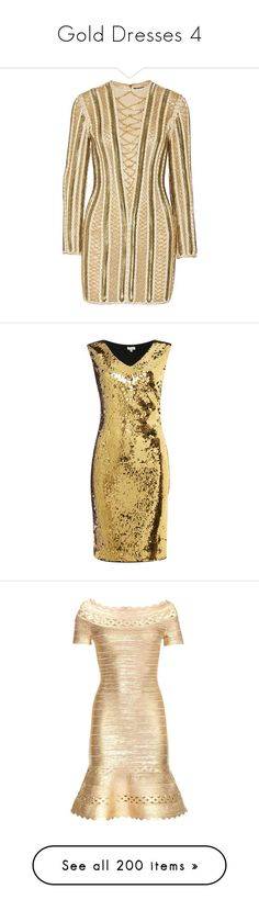 """Gold Dresses 4"" by kingcrimson ❤ liked on Polyvore featuring dresses, balmain, gold, embellished short dress, silk organza dress, short brown dress, embellished dress, embelished dress, sale women dresses and short formal dresses"