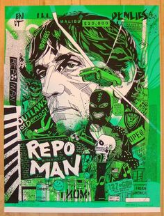 "Repo Man - silkscreen movie poster (click image for more detail) Artist: Tyler Stout Venue: n/a Location: n/a Date: 2013 Edition: 510; signed and numbered Size: 18"" x 24"" Condition: Mint Notes: this s"