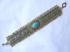Tutorial Bead Embroidery Bracelet, Gold Turquoise Cuff Bracelet, Beading Pattern…