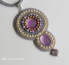 Bead Embroidery Necklace,Handmade Necklace,Lilac Necklace, Seed bead necklace