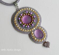Bead Embroidery NecklaceHandmade NecklaceLilac by BobeIkotics