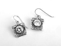 Sterling silver earrings dangle set with CZ zircon - Bluenoemi - My Sterling Silver Jewelry