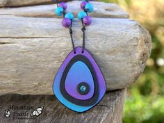 Purple Blue Necklace Eye-catching Pendant by MountainPearls