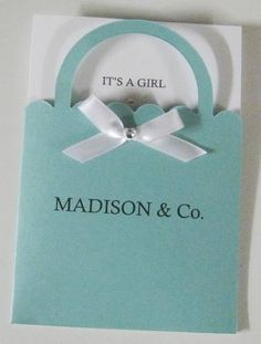 Tiffany Co. Shopping Bag Personalized Baby Shower Invitations 4.5 x 6.5 Tiffany Blue Tiffany Co. Inspired Invitation Metallic Cardstock. $2.00, via Etsy. @Lauren Davison Corey (We could add in the inside the Huggies and Chuggies. We'll provide the Chuggies you provide the huggies....