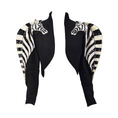 Extremely Rare 1970's Bob Mackie Sequined Zebra Bolero | From a collection of rare vintage jackets at https://www.1stdibs.com/fashion/clothing/jackets/