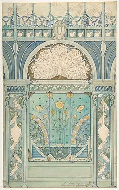 Émile Hurtré (French, active ca. 1890–1900). Design for a Wall Decoration with Peacock, Cranes, and Sunflowers for the Restaurant in Hotel Langham (Paris), 1896-1898.  The Metropolitan Museum of Art, New York. Edward Pearce Casey Fund, 1991. (1991.1288) #paris