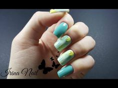 Turquoise and yellow nails Yellow Nails, My Nails, Nail Art, Turquoise, Youtube, Model, Channel, Museum, Facebook