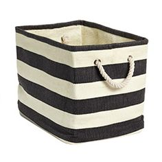 These black & white striped bins are perfect to keep the #nursery organized & chic! #pinparty
