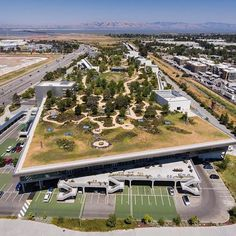 Here's a shot overlooking the green roof of Building 20 at Facebook HQ. The 9…