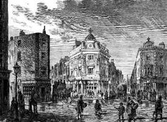 Seven Dials, one of London's most notorious Regency-era slums. London Drawing, Somewhere In Time, Regency Era, Old London, Slums, Covent Garden, Old City, City Life, Great Britain