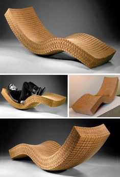 Chaise longue made from cork. Cork is a totallynatural and renewable material that we need to encourage alongside many other natural sustainable materials.(creative and can shape to the confortable shape of your body) Cardboard Chair, Cardboard Design, Cardboard Furniture, Recycled Furniture, Diy Cardboard, Wine Cork Art, Wine Cork Crafts, Wine Art, Wine Corks