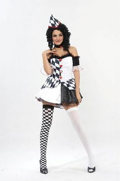 Harlequin Female #Clowns /& Circus Adult Complete Outfit Halloween Fancy Dress