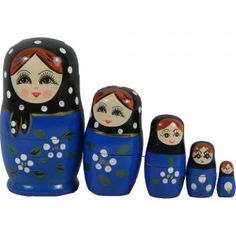 Russian Doll Set of 5 Blue and Black